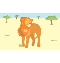 a lion in Savannah vector image