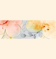Abstract flower banner design on splatter vector
