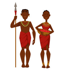 African family tribe members man warrior and vector
