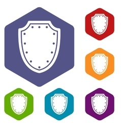 Army protective shield icons set vector