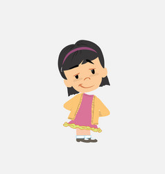 Asian girl smiling peacefully vector
