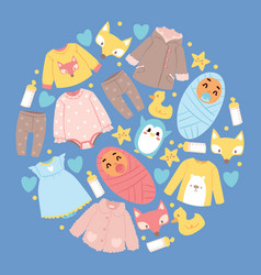 Baby shop cartoon kids clothing toys newborn vector