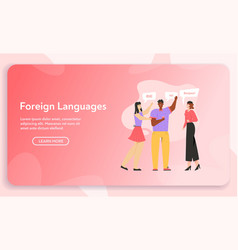 Banner foreign language concept vector