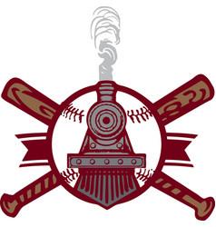 baseball train emblem logo vector image