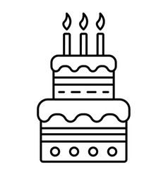 birthday cake with candles icon outline style vector image
