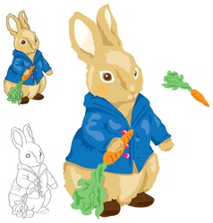 Blue Shirt Rabbit Holding Carrot vector