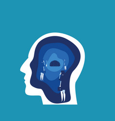 Brain searching with head concept business vector