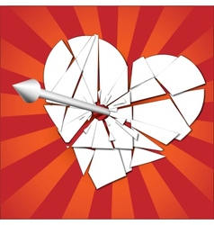 broken heart pierced by an arrow vector image