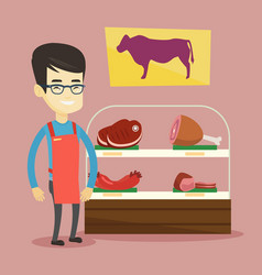 butcher offering fresh meat in butchershop vector image