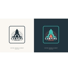 Camping and outdoor adventure retro logo vector image