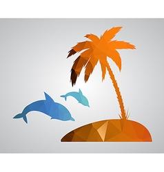 Card in polygonal style Beach palm tree island dol vector image