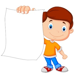 Cartoon boy holding blank paper vector