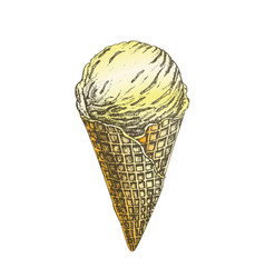 color ice cream scoop in waffle cone hand drawn vector image