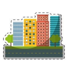 Colorful city scene and building with trees image vector
