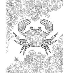 Coloring page ornate crab and sea waves vertical vector