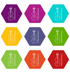 contrabass icons set 9 vector image