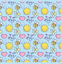 Cute bee and nature pattern background vector