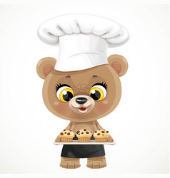 Cute cartoon baby bear chef with muffins vector