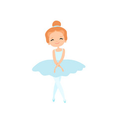 Cute little ballerina character in light blue tutu vector
