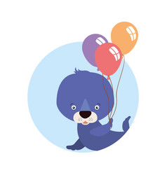 Cute little seal with balloons helium character vector