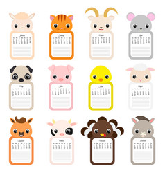 Cute monthly animals calendar 2020 with notes vector