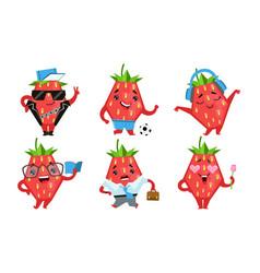 Cute strawberry cartoon character set funny fruit vector