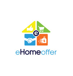 Ehome offer logo design template for e-commerce vector