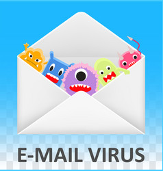 email envelope open and infected computer virus vector image