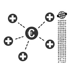 Euro medical links icon with job bonus vector
