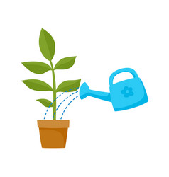 Flat cartoon green plant in the ceramic pot vector