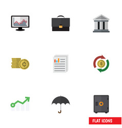 Flat icon finance set of parasol bank strongbox vector