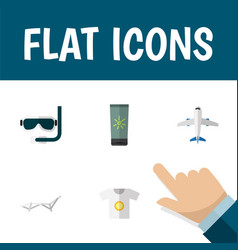 flat icon summer set of deck chair aircraft vector image