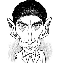 franz kafka portrait in line art vector image