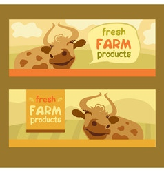 Fresh farm products Happy cow on meadow vector