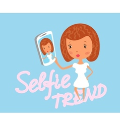 Girl is taking selfie vector image