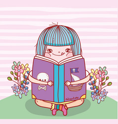 Girl read book literature with flowers vector
