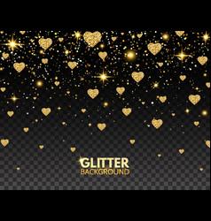 glitter heart confetti gold glitter particles vector image
