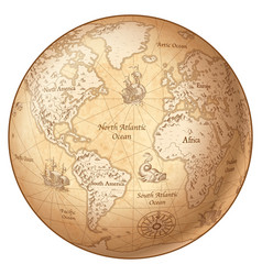 Globe vintage world map vector