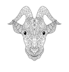 Goat head Coloring for adults vector
