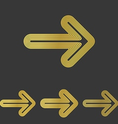 Golden line arrow logo design set vector