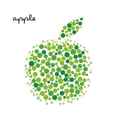 Green apple silhouette created from dots vector
