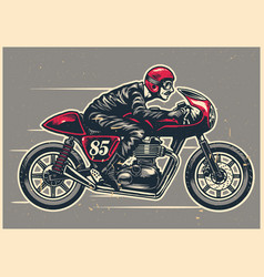 hand drawing man riding a cafe racer vector image