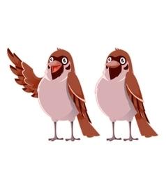 Happy cartoon sparrows vector