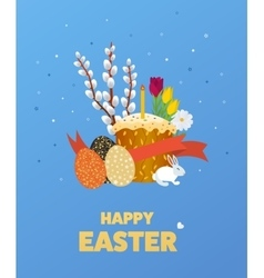 Happy easter eggs grass flowers vector