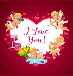 happy valentine day cupid angels heart frame vector image