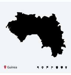 high detailed map guinea with navigation pins vector image