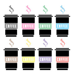 High detailed of colorful cups vector