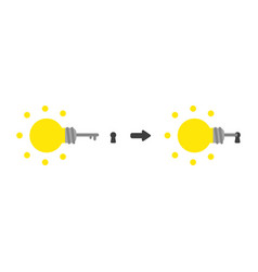 icon concept of glowing light bulb key into vector image
