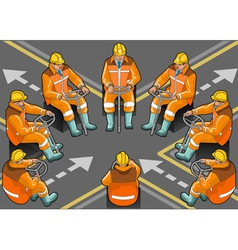 isometric shunter at work in eight positions vector image