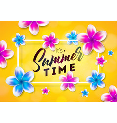 its summer time with flower on sun vector image